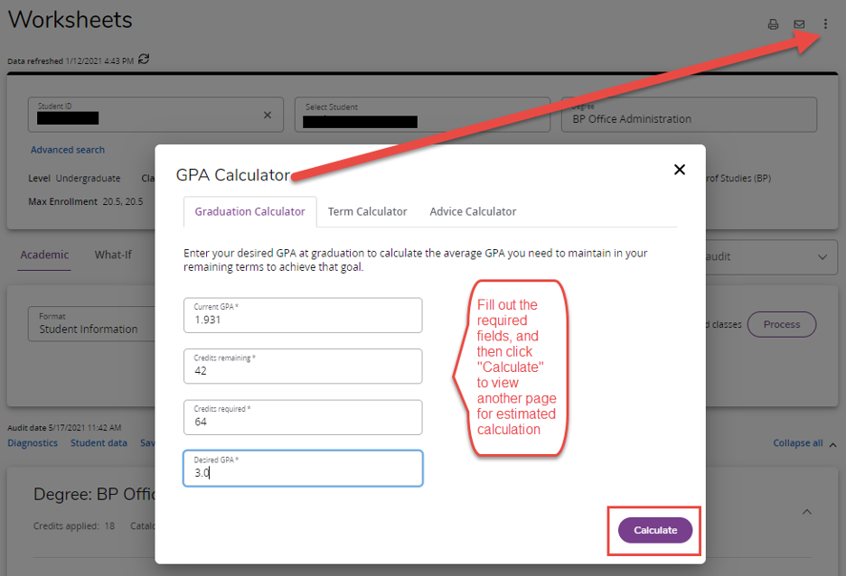 screen shot of the location of the GPA calculator