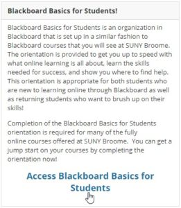 Screenshot of the area of Blackboard students use to access the Blackboard Basics for Students orientation.